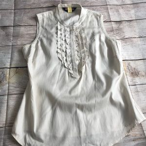 Vineyard Vines Silk Top ruffle neck size 8 beige